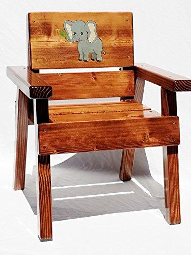 Kids Wood Jungle Safari Chair, Engraved & Painted Elephant