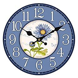 Upuptop 14 Large Size Rustic Country Tuscan Style Silent Wall Clock Decor September Blue Aster