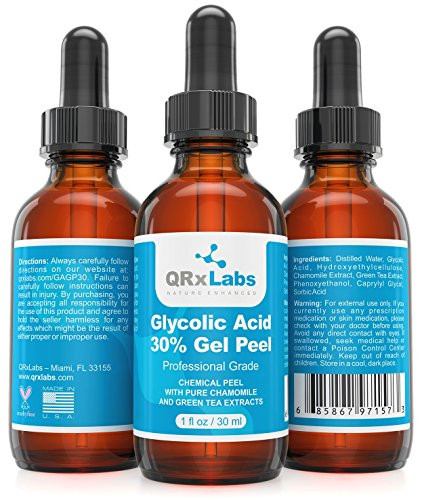 30% Glycolic Acid Peel (Glycolic Acid 30% Gel Peel with Chamomile and Green Tea Extracts - Professional Grade Chemical Face Peel for Acne Scars, Collagen Boost, Wrinkles, Fine Lines - Alpha Hydroxy Acid - 1 Bottle of 1 fl oz)