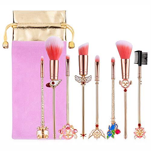 Makeup Brushes Set Magic Sailor Moon/Sakura Cosmetic Makeup Tool Kit Set of 8 Pink Drawstring Bag Included (Sakura)