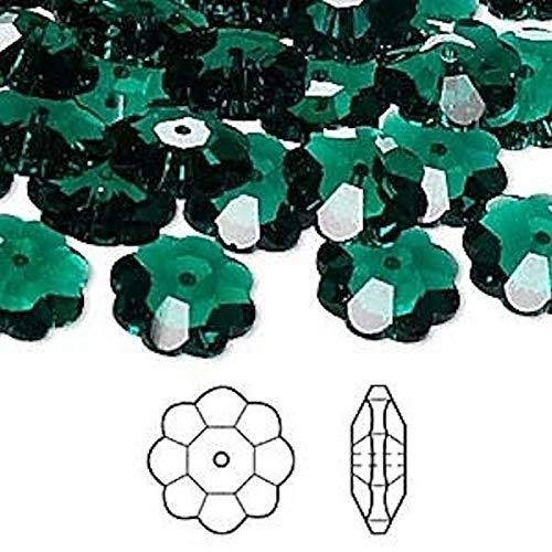 (12 Swarovski Emerald Green 12X4Mm Marguerite Lochrose Flower Crystal Beads 3700)