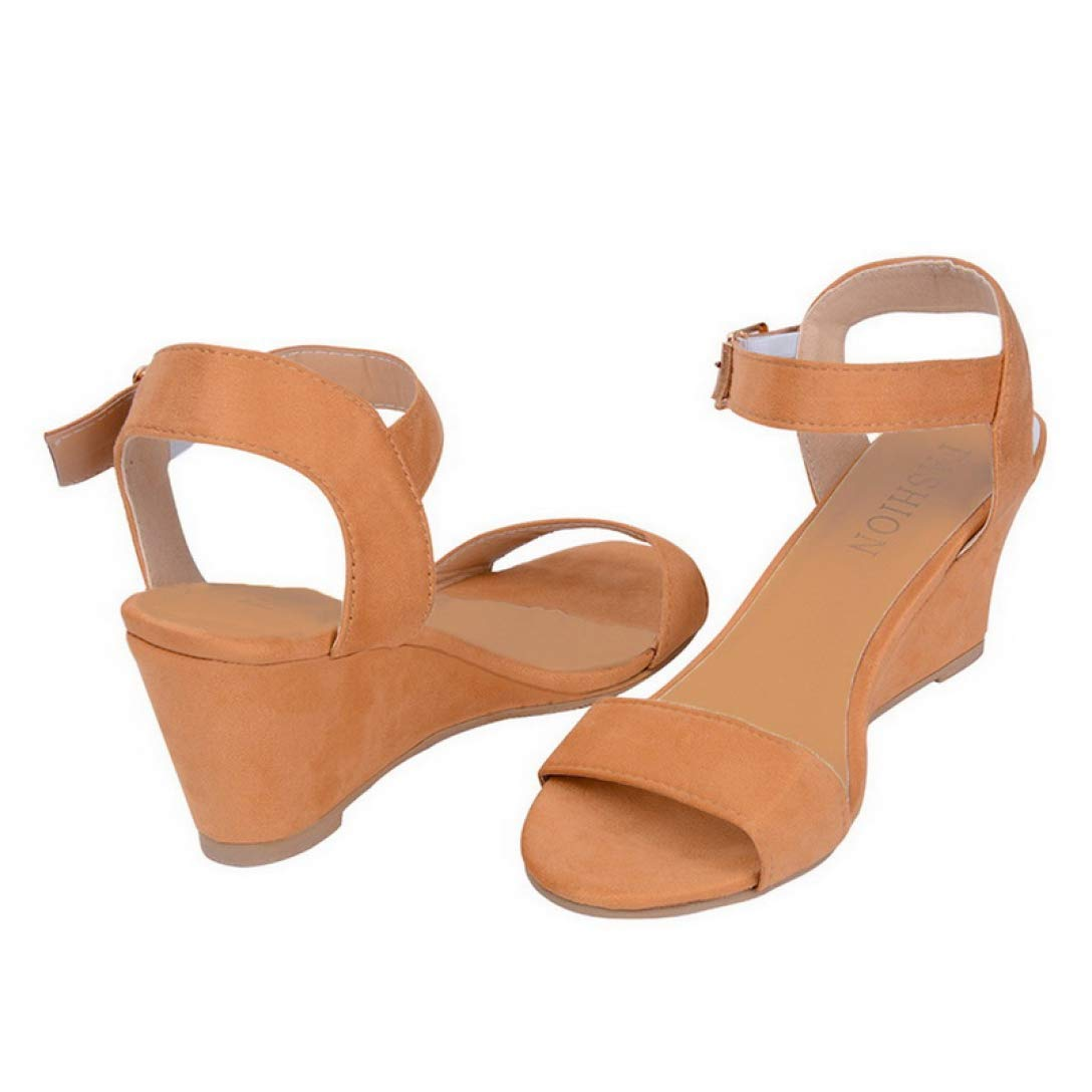 ChyJoey Womens Wedge Sandals Open Toe Comfortable Ankle Buckle Strap Platform Mid Heels Dress Sandal