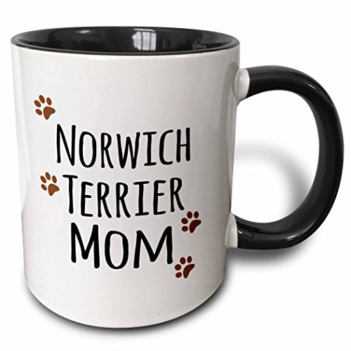 3dRose (mug_154164_4) Norwich Terrier Dog Mom - Doggie by breed - muddy brown paw prints - doggy lover pet owner mama love - Two Tone Black Mug, 11oz