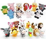 22 pcs Plush Animals Finger Puppet Toys - Mini Plush Figures Toy Assortment for Kids, Soft Hands Finger Puppet