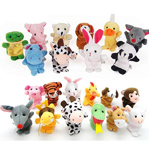 (22 pcs Plush Animals Finger Puppet Toys - Mini Plush Figures Toy Assortment For Kids, Soft Hands Finger Puppets Game For Autistic Children, Great Family Parents Talking Story Set)