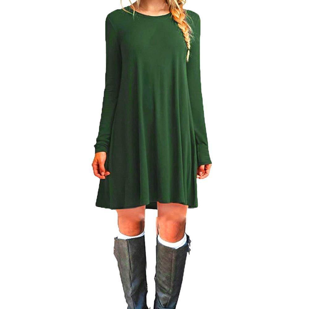 UFACE Damen Kurzarm Rundhalsausschnitt Taschen Kleid Damen Kurzarm Rundhalsausschnitt Taschenkleid Mini Kleid