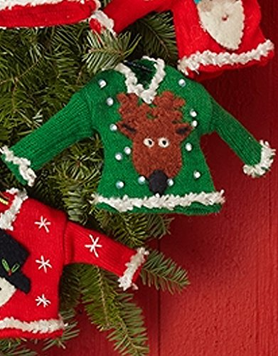 Two's Company Pretty Ugly Sweater Christmas Ornament with Reindeer