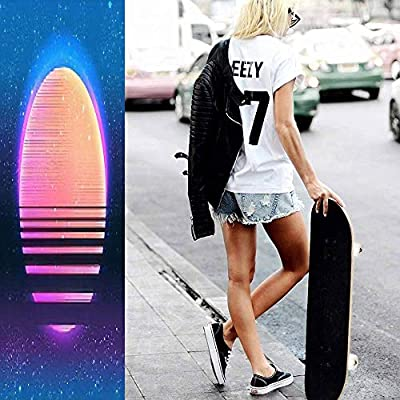 Classic Concave Skateboard Retro Vintage 80s or 90s Geometric Style Abstract Background Good Longboard Maple Deck Extreme Sports and Outdoors Double Kick Trick for Beginners and Professionals : Sports & Outdoors
