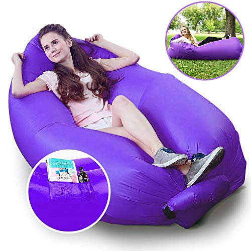 Price comparison product image Hebensi Inflatable Hammock Lounger with Carrying Bag Air Sofa Hangout Couch Lounger Bag Waterproof Nylon Air Chair for Indoor Outdoor Camping Picnics