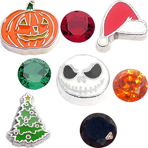 - What a Nightmare Christmas Holiday Charm Set for Floating Lockets