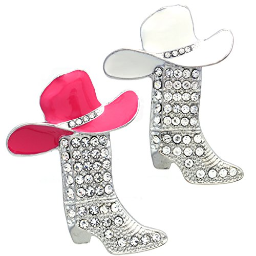 (Soulbreezecollection Lucky Western Cowboy Boots Brooch Pink & White Hat Pin Charm Enamel)