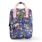 Micoop Waterproof Floral Backpack Handbag Travel School Bag for Girls and Women (Light Purple M)