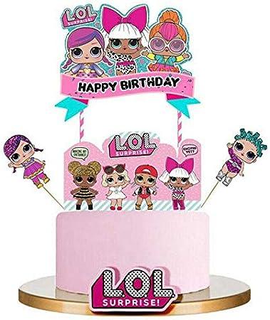 Sensational Lol Happy Birthday Cake Topper Cupcake Picks Cartoon Cake Personalised Birthday Cards Beptaeletsinfo