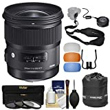 Sigma 24mm f/1.4 Art DG HSM Lens with USB Dock + 3 Filters + Strap + Pouch + Diffusers + Kit for Canon EOS Digital SLR Cameras