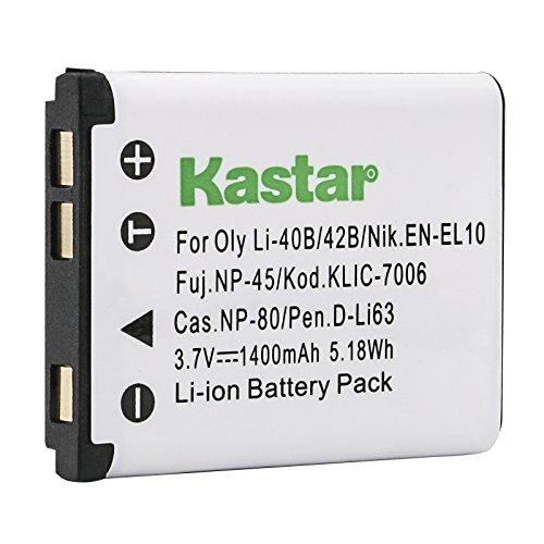 Kastar Digital Camera Replacement Lithium-Ion Battery Compatible with Fuji NP-45, Kodak KLIC-7006, Nikon EN-EL10, Pentax D-LI63, D-Li108, Olympus LI-40B, LI-42B, Casio NP-80, Sanyo Xacti Battery
