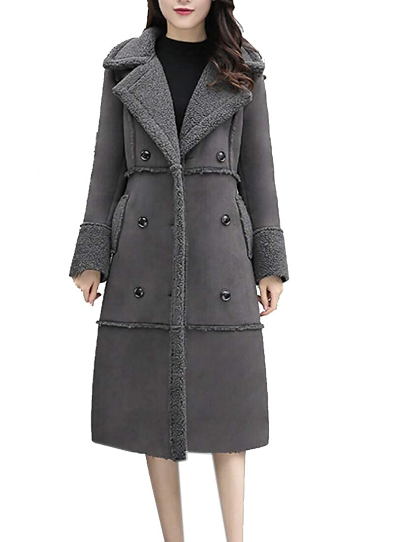 Gery jxfd Women's Faux Suede Outerwear Jacket with FauxShearling Lined Coats