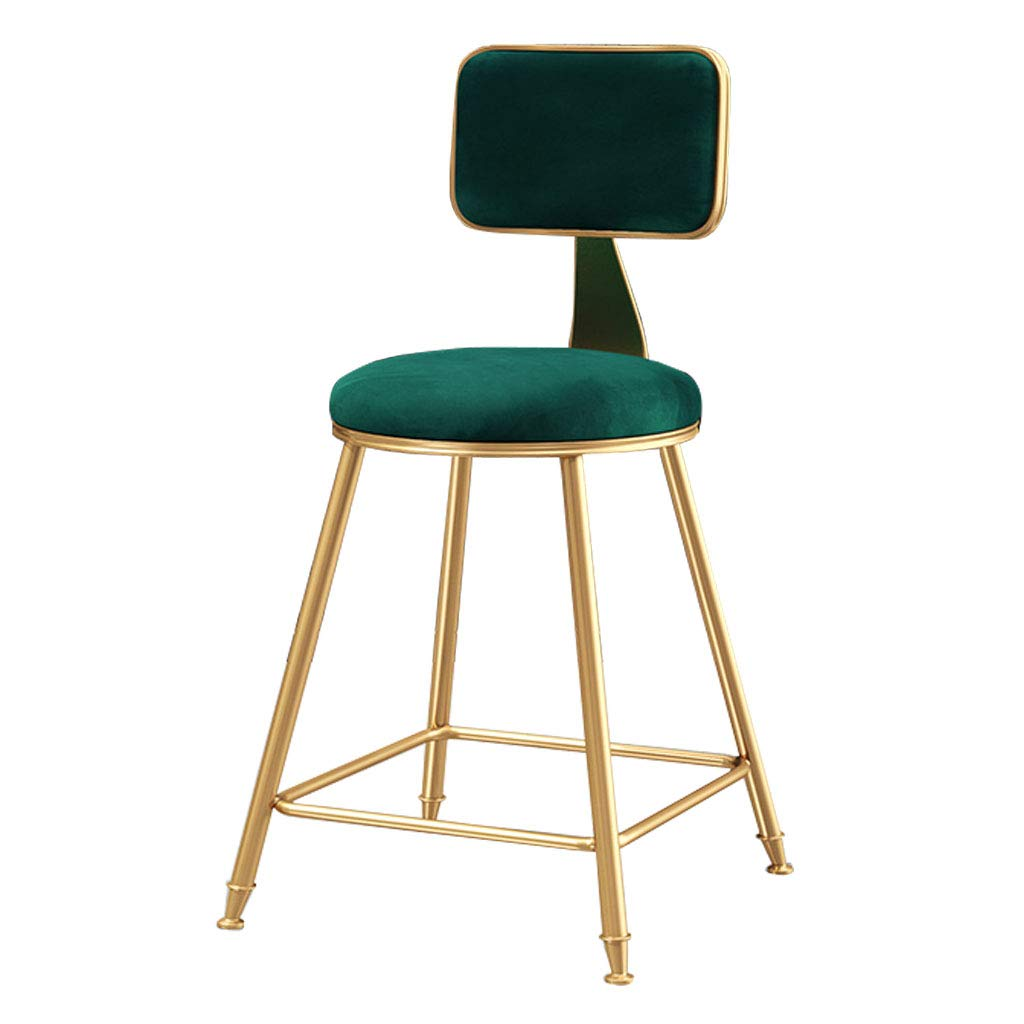 Green 45cm Modern Barstools Chair with Backrest for Kitchen Pub Bar High Stools gold Metal Legs  Leisure Upholstered Dining Chairs  Velvet Cushion  Max Load 200kg -Pink Green bluee
