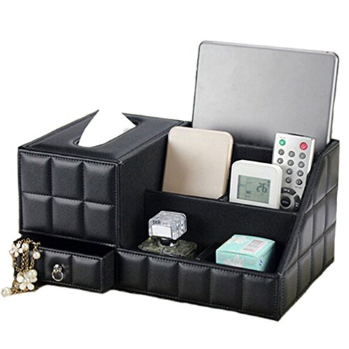 JHGJ Leather TV Remote Control Holder Organizer / Tissue Box / Controller TV Guide / Mail / Caddy for Desk / Caddy / Office / Pens / Pencils / Makeup Brushes / Nightstand / Holder (Black)
