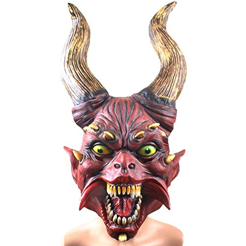 [LETSQK Adult Latex Creepy Scary Toothy Devil Demon Skull Overhead Mask Halloween Costume Red] (Red Devil Scream Queens Costume)