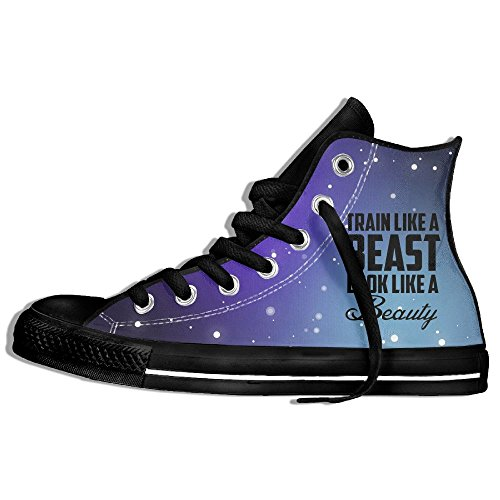 Train Like A Beast Look Like A Beauty High Top Classic Casual Canvas Fashion Shoes Sneakers For Women & Men