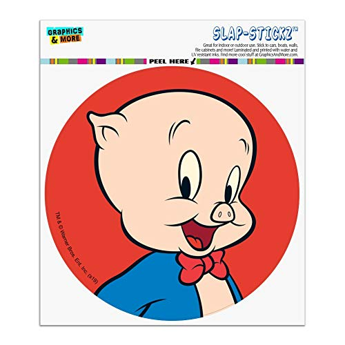 Graphics and More Looney Tunes Porky Pig Automotive Car Window Locker Circle Bumper Sticker