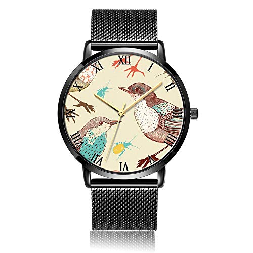 (Customized Birds Beetles Wrist Watch, Black Steel Watch Band Black Dial Plate Fashionable Wrist Watch for Women or Men )