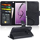 Galaxy S9 Plus Case, Arae [Kickstand Feature] PU Leather Wallet case with [4-Slots] ID&Credit Cards Pocket for Samsung Galaxy S9 Plus - Black
