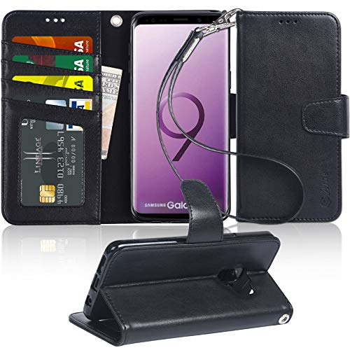 Galaxy S9 Plus Case, Arae [Kickstand Feature] PU Leather Wallet case with [4-Slots] ID&Credit Cards Pocket for Samsung Galaxy S9 Plus [Not for Galaxy S9] - Black