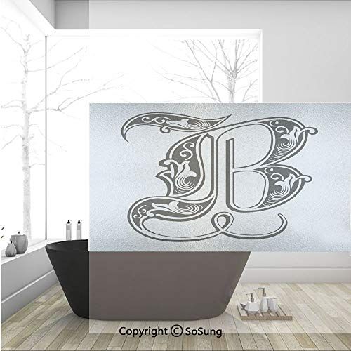 (3D Decorative Privacy Window Films,Classical Artistic Designed Font with Ornamental Details Alphabet Typescript,No-Glue Self Static Cling Glass film for Home Bedroom Bathroom Kitchen Office 36x24)