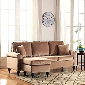 Classic and traditional small space velvet for Amazon sectional sofa with chaise