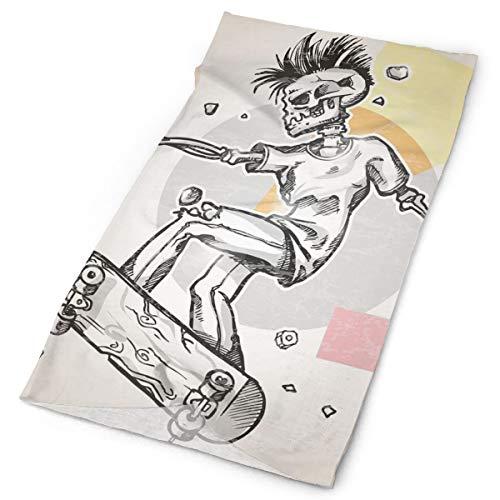 Headwear Headband Head Scarf Wrap Sweatband,Punk Rocker Skeleton Boy On A Skateboard Skiing With Abstract Background Theme Art,Sport Headscarves For Men Women