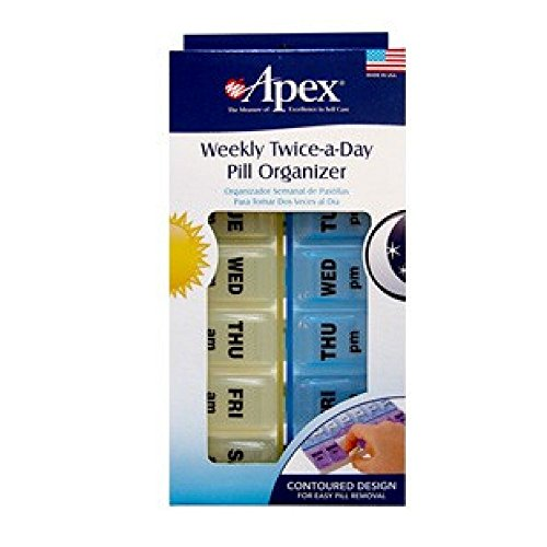 Apex Twice-A-Day Weekly Pill Organizer, Weekly Pill Organizer, 2 Times a Day Color-Coded, Easy-Open, See-Through Lids, Organize Medication or Vitamins by AM, PM or Morning and Bedtime