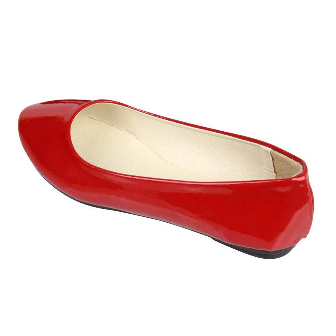 Femme Ballerines Plates Pointue Glisser sur Pointue Depolie Plates Faux Cuir sur Brillante Mode Simple Chaussures de Été Rouge c011632 - latesttechnology.space