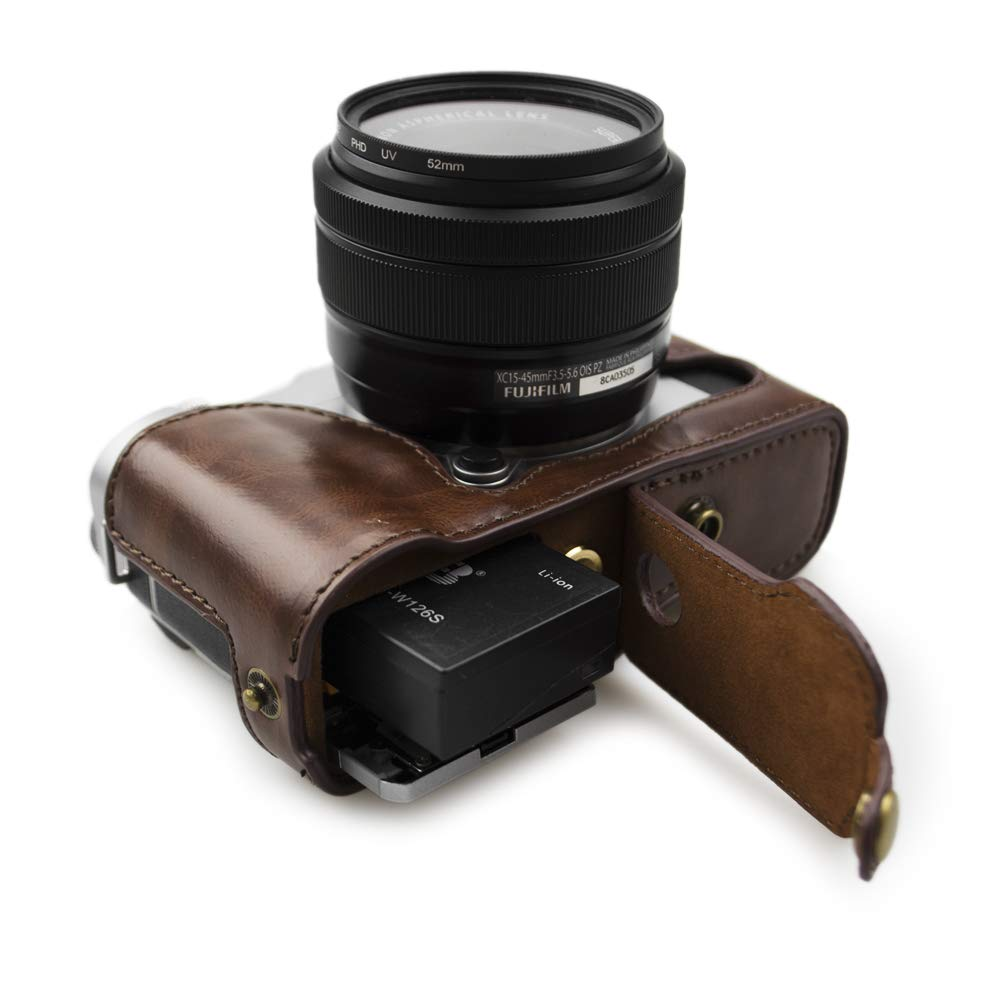 kinokoo Leather Camera Case for Fujifilm X-A3 Fujifilm X-A10 Fujifilm X-A5 and 16-50mm lens with shoulder strap and cleaning cloth coffee