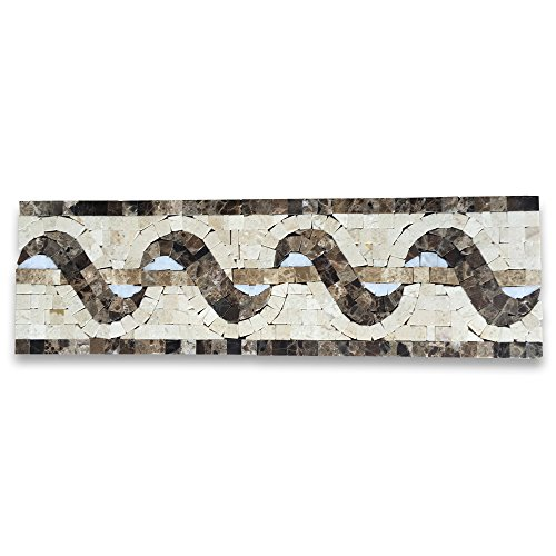 Melody Emperador 4x13.4 Marble Mosaic Border Listello Tile Polished