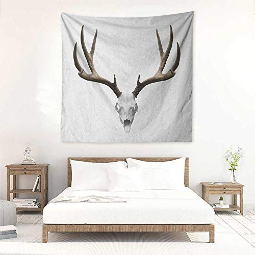 Willsd Antlers DIY Tapestry A Deer Skull Skeleton Head Bone Halloween Weathered Hunter Collection Living Room Background Decorative Painting 47W x 47L INCH Warm Taupe Pale Grey]()