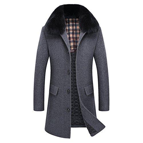 Cappotto Cappotto Cappotto Darkgray Coreana Pelliccia Cappotto Lunga Lunga Lunga Lunga di Cappotto Autofilettante di Lana da Sezione JPFCAK Lane Versione delle Inverno Uomo HaTUTqw