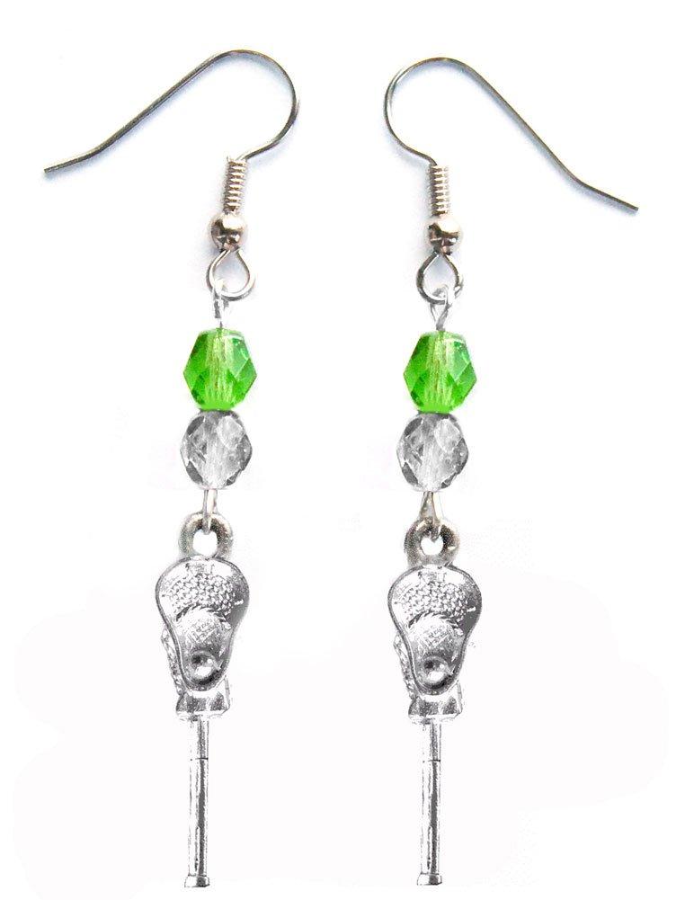 ''Lacrosse Stick & Ball'' Lacrosse Earrings (Team Colors Kelly Green & Silver)
