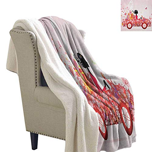 Suchashome Cars Warm Blanket Girl on a Car with Floral Present Boxes Butterflies Daisies Little Hearts Lightweight Microfiber Blankets 60x78 Inch Pink Dark Coral Black