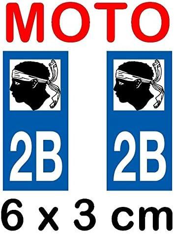 Autocollant plaque immatriculation moto dpt 2B Haute Corse