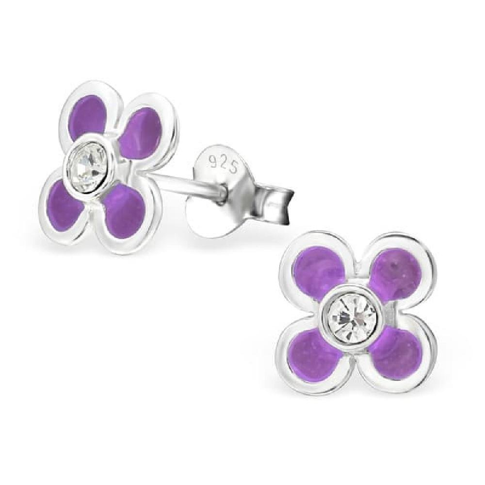 Childrens 925 Sterling Silver Flower Ear Studs with Crystal and Epoxy Color So Chic Jewels