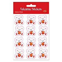 Beistle 74004 Valentine Bear Stickers Party Favors, 4-3/4-Inch by 7-1/2-Inch, 4 Sheets Per Package