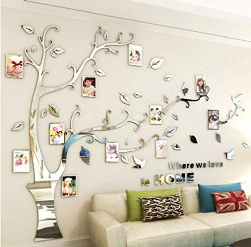 Kenmont Large Family Tree Wall Decals 3D DIY Photo Frame Wall Stickers Crystal Acrylic Mural for Living Room Sofa TV Art Wall Background(Silver-L-Left) (Room Decor Family Living)