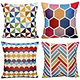 WOMHOPE 4 Pack Colorful Geometric Throw Pillow Covers Cases Cotton Linen Burlap Square Decorative Cushion Covers Pillowcase Cushion Case for Sofa,Bed 18 x 18 Inch (C (Set of 4))