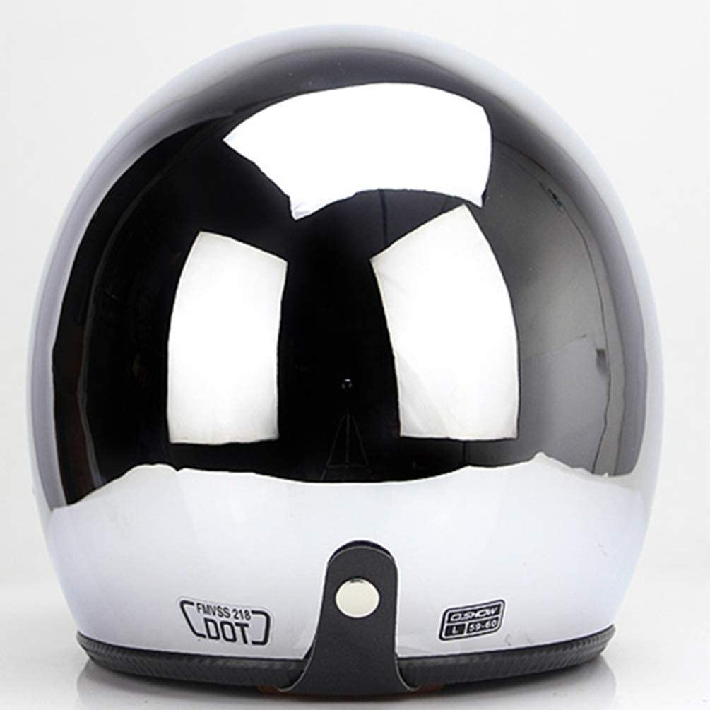 Size : L:57-58CM Helmets SCH Retro Open Face Adult Motocross Detachable Unisex Cycle Safety Cap Jet Silver Chrome Motorcycle 55-64cm