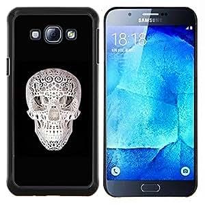 EJOOY---Cubierta de la caja de protección para la piel dura ** Samsung Galaxy A8 A8000 ** --Cráneo 3D de impresión Negro Blanco Minimalista