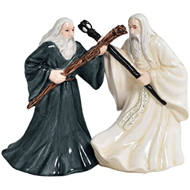 Westland Giftware Magnetic Ceramic Salt and Pepper Shaker Set, 4.25-Inch, The Lord of The Rings Gandalf and Saruman, Set of 2