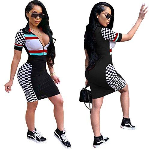 Sleeve Zip Short Clubwear Midi Bodycon Dress Black Bandage Patchwork Dreamparis Women's Dress Front q1aXXx