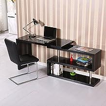 HOMCOM Pivoting Hollow Core Wood Computer Desk Storage Display Shelf Bookshelf Divider Black