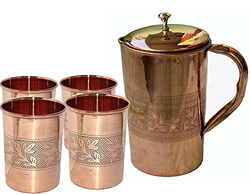 - PARIJAT HANDICRAFT Indian Ayurveda Embossed Finished Copper Water Pitcher Copper 4 Glasses Capacity 10 Ounce with 1 Jugs Capacity 54 Ounce Set for Storing Drinking Water Ayurveda